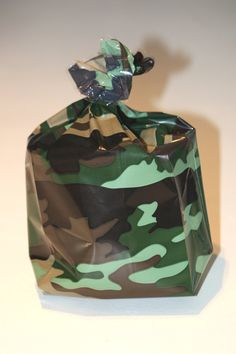 20 Camouflage Cellophane party favor bags Army Treat Bag Marine Cello Bag Green Party Boy Party