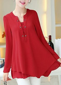 Red Asymmetric Hem Long Sleeve Chiffon Blouse, free shipping worldwide and high quality, don't wait.