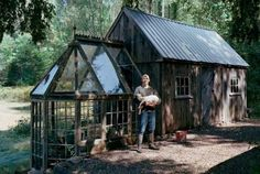 "Shed and greenhouse made from salvaged materials. Mike did an amazing job of putting it all together! By Mike Christie-Fogg of Colchester, Conn. ""The plan came together after Mike drove his Toyota Corolla past a pile of antique windows put out as garbage. He returned with his truck, loaded up the glass and went home to create an 18 x 10–foot barn with a 10 x 7 greenhouse."" www.popularmechanics.com"