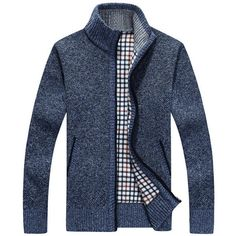 Casual Extra Fleece Thick Sweater Knitting Solid Color Coat For Men - NewChic