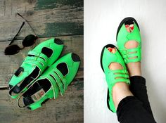 80s Neon Leather Sandals  Vintage Boho Summer Open Toe by XZOUIX