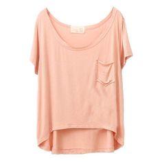 High Low Pocket T-Shirt ($11) ❤ liked on Polyvore featuring tops, t-shirts, shirts, chicnova, short sleeve tees, modal t shirt, pocket shirt, relaxed fit t shirts and t shirts