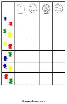* Paaseispel! 1A  Dit spel / werkblad kan geplastificeerd worden voor herhaald gebruik of als werkblad worden gebruikt. Er zijn vier soorten  in 6 verschillende kleurencombinaties.