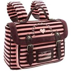 Pink and brown stripped Juicy Couture bookbag