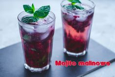 Przepis na malinowe mojito (Raspberries Mojito) - DusiowaKuchnia.pl Raspberry Mojito, Blue Curacao, Rum, Shot Glass, Drinks, Tableware, Drinking, Beverages, Dinnerware