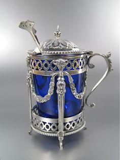 Nederlands zilveren mosterdpot | Blauw glas, kristal en zilver | Collectie | Antiek Zilver