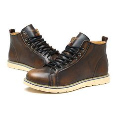 san francisco 6df1c 4958c Large Size Vintage Color Match Ankle High Top Leather British Style Boots  Leather Lace Up Boots