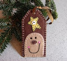 Brown Wool Felt Gingerbread Tag Ornament on Etsy, $5.50