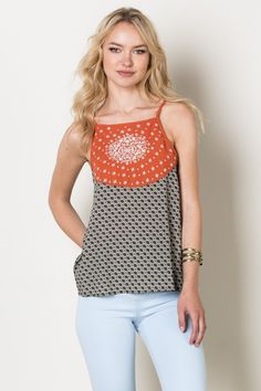 Black White Patterned Top with Burnt Orange - Longhorn Fashions