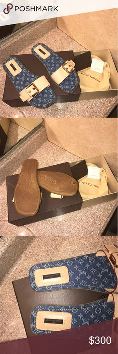 Authentic Louis Vuitton sandals Rare Louis Vuitton denim monogram sandals / only worn 2x/in great condition/ comes with box and dust bags/ feel free to make a offer ✔️ Louis Vuitton Shoes Sandals