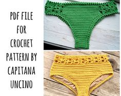 PDF-file for Crochet PATTERN, 2 Bottoms, Coralia Flower Brazilian Bikini Bottom and Hipster Bottom, Crochet, Sizes XS,S,M,L