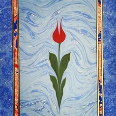 Another gift, for my aunt  #sumiebru #ebru #sanatı #turkish #traditional #papermarbling #art #tulip #flower #lale #cicek #mavi #kırmızı #blue #red #instadaily #necmeddin