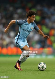 Leroy Sane of Manchester City during the UEFA Champions League match between Manchester City and VfL Borussia Moenchengladbach at Etihad Stadium on...