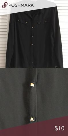 Black sheer button down top Sheer black button down top. Slightly see through. Has gold buttons down the front and on pockets. Never worn. Open to offers Forever 21 Tops Button Down Shirts