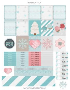 Grab these Free Printable Planner Stickers Winter Fun and decorate your planner in time for the winter season. Keep warm with our planner stickers! Free Planner, Happy Planner, Planner Diy, Passion Planner, Planner Inserts, Goodnotes 4, Project Life, Digital Bullet Journal, Planners