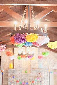 poms everywhere! photo by Ivy Weddings http://ruffledblog.com/zilker-park-clubhouse-wedding #weddingideas