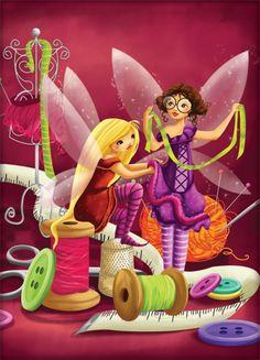 carte-couture.eps Illustration Mignonne, Cute Illustration, Art Fantaisiste, Art Carte, Sewing Spaces, Cute Monsters, Sewing Art, Flower Fairies, Cartoon Pics
