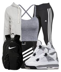 """Lazy Days "" by adoreeicyy ❤ liked on Polyvore featuring adidas, James Perse and NIKE"