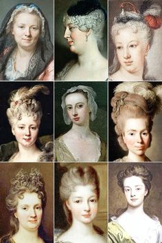 Vintage Hairstyles Century Woman's Hairstyles A collection of. 18th Century Dress, 18th Century Costume, 18th Century Clothing, 18th Century Fashion, Historical Costume, Historical Clothing, Marie Antoinette, Vintage Hairstyles, Wig Hairstyles