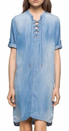 Calvin Klein Jeans Denim Lace Up Shirt Dress Plunge Tunic Roll Cuff Lightweight  #CalvinKlein #ShiftDressShirtDressTShirtDressTunicDress #Casual