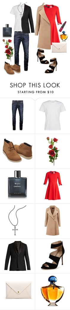 """Happy Valentine's Day"" by pure-vnom ❤ liked on Polyvore featuring Jack & Jones, TOMS, Chanel, Mary Katrantzou, Steve Madden, Boohoo, Paul Smith, Carvela, Guerlain and Rimmel"