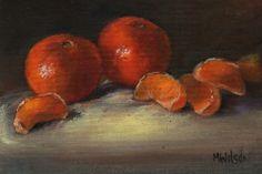 Original Oil Painting/ Marjorie Wilson/ Miniature Still Life - 'An Orange Treat'