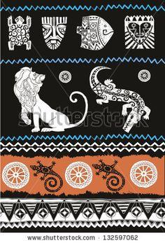 Illustration vector.Ethnic ornament set. Seamless vector tribal texture.Animals set - stock vector