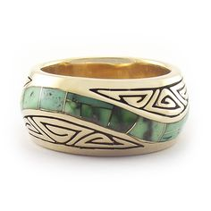 Green Turquoise Inlay Swirl Ring in Tribal Gold
