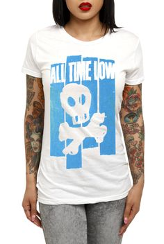This fitted white tee features a paste and cut style All Time Low screen of a skull and crossbones.
