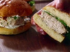 Get Chicken Burgers with Garlic-Rosemary Mayonnaise Recipe from Food Network