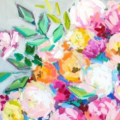 C. Brooke Ring - Floral detail from a commission in the works! - colorful flower painting - abstract floral painting