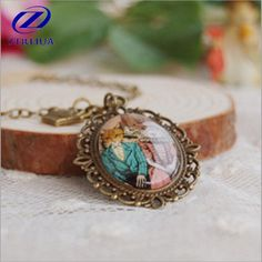 New Arrival Retro Handmade Painted Jewelry Glass Crystal Cabochon Cat Vintage Accessories Pendant Necklace    D54