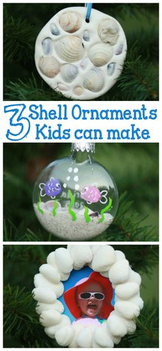 Kid-Made Seashell Ornaments that kids of any age or ability can help make- from toddlers to teenagers!   Commemorate your favorite beach vacation with a special ornament for the Christmas tree!