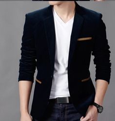 Casual Blazer Mens Wool Blends Suit Jacket Men