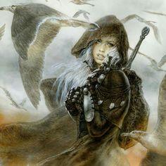 Luz By luis royo Amazing artist! Dark Fantasy Art, Fantasy Artwork, Fantasy Women, Dark Art, Wolf, Luis Royo, Fox Art, Fantasy Warrior, Fantasy Illustration