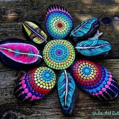from @yuliart.dots -  #YuliaArtDots #paintedstones #feathers #rocks #stones #stoneflower #art #myart #dowhatyoulovewithpassion #dots #dotting #myart #rvibes Dot Art Painting, Feather Painting, Mandala Painting, Pebble Painting, Pebble Art, Stone Painting, Mandala Painted Rocks, Painted Rocks Kids, Mandala Rocks