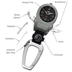 Packed with trail-ready tools, this gadget combines a watch, key ring, and Swiss Army knife components all in one design.