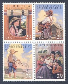 "Classic American Children's Books,  United States,  1993  - Four classic American children's books are featured on this mint block of four stamps from the United States Postal Service: ""Little Women,"" by Louisa May Alcott (two volumes- published in 1868 & 1869); ""Adventures of Huckleberry Finn,"" by Mark Twain (Samuel Clemens, published in 1884); ""Rebecca of Sunnybrook Farm,"" by Kate Douglas Wiggin (published in 1903); and Little House on the Prairie,"" by Laura Ingalls Wilder (published in…"
