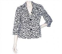 14.33$  Buy now - http://viext.justgood.pw/vig/item.php?t=kn9da3q391 - Linea Louis Dell'Olio Chic Allover Animal Print Blazer White Black S NEW A201016 14.33$