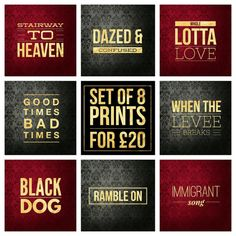 "Set of 8 Led Zeppelin Song Title Prints - Square 8x8"" Each - Quote Robert Plant Rock Pop Music Lyric Typography Poster Wall Art Gift Mancave #ledzeppelin #robertplant #rocklegend #poster #stairwaytoheaven #dazedandconfused #wholelottalove #goodtimesbadtimes #whentheleveebreaks #blackdog #rambleon #immigrantsong #poster"