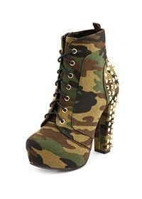 Spike-Back Camo Heel Bootie: Charlotte Russe Chunky Heel Ankle Boots, High Heel Boots, Ankle Booties, Heeled Boots, Bootie Boots, Shoe Boots, High Heels, Cute Shoes, Me Too Shoes