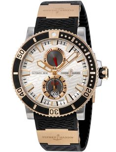 Professional Ulysse Nardin Maxi Marine Diver Rose Gold Silver With Wave Dial 265-90-3/91