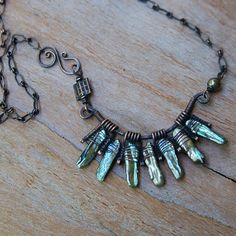 Pearl Fan Necklace Oxidized Copper Artisan Necklace