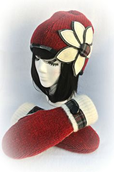 100 WOOL WOMEN'S Recycled Hat & Mitten Set  by DesignItAgainCrafts, $48.00