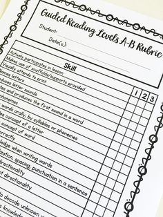 Kindergarten Guided Reading Checklists and Rubrics Guided Reading Lessons, Guided Reading Levels, Reading Notes, Reading Skills, Reading Response, Kindergarten Reading, Teaching Reading, Kindergarten Rubrics, Learning