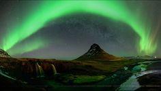 Stunning Aurora at Mount Kirkjufell in Iceland