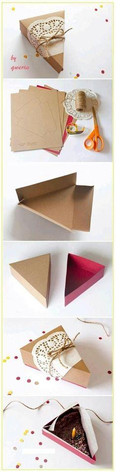 Utiliza un solo molde para crear infinidad de cajitas con forma de rebanada de pastel. El procedimiento es muy sencillo: guarda, amplia e i...