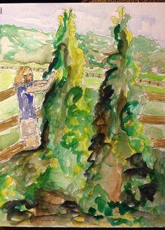 Laura in her Garden - pen, ink and watercolor sketch, 2013