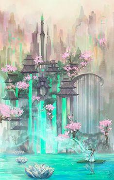 Fantasy Artwork, Fantasy Art Landscapes, Landscape Art, Landscape Drawings, Landscape Lighting, Landscape Architecture, Landscape Design, Landscape Photography, Fantasy City
