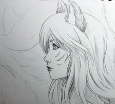 Ahri Profile Drawing by BlackRoseXOX